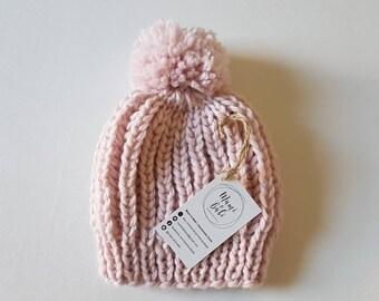 Chunky Knit Beanie with Pom Pom, Baby Kids or Adult Beanie, Handmade Beanie, Winter Hat - MADE TO ORDER