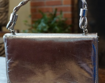 Silver Lame Vinyl Purse/Braided Handle/ Prom Purse/ Social Purse/ Vegan Leather
