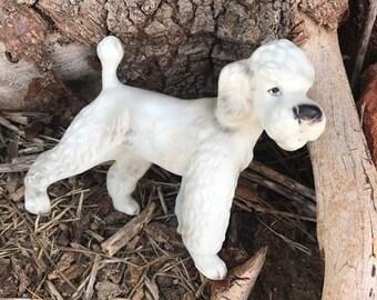 Vintage French Poodle Dog, White Poodle, Japan, Fine Ceramic, Figurine, Gift