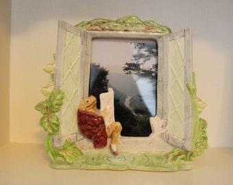 "Rare Vintage Beatrix Potter Mr ""Jeremy Fisher"" -Frog -Toad Frame-Schmid Malaysia-Figurine"