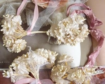 Lovely Millinery bouquets, 4 pieces, ivory, beautiful french look, wedding, bridal, boudoir, shabby, jdl ...CHARMANT!
