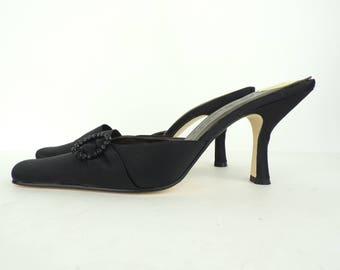 Vintage black Sam & Libby mules size 8M, black heels, black mules, rhinestone pendant, open back heels, fancy heels, fabric heels, evening