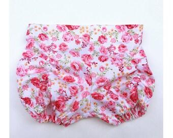 Girls Floral Bloomer Shorts, Girls Spring Shorts, Ruched Bloomer Shorts, Rushed Floral Shorts, Cake Smash Shorts, New Baby Girl Gift