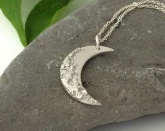 Handmade Cresent Moon Necklace in Fine Silver | Lunar Pendant | Silver Moon Pendant | Double Sided Pendant | Moon and Star Pendant