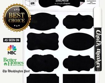 Chalkboard Labels Bundle, 40 Premium Chalkboard Stickers for Jars, Bottles, Containers + (1) Chalk ink Marker Included