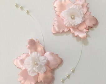 Hairclips, Set of Hairclips, Floral Hair Accessories, Pink, White, and Pearls, Wedding Accessory, First Communion, Bridesmaids, Mother.