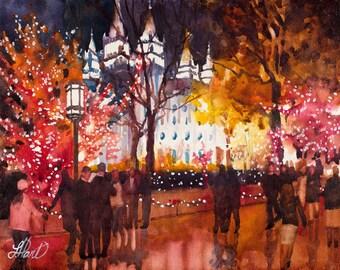 Salt Lake Temple Painting, Christmas Temple Square, Utah, Watercolor Painting, Watercolor Print, Home Art