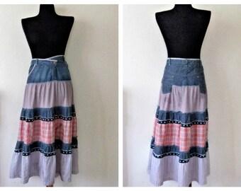 Tiered Ruffle Skirt, Long Skirt, Maxi Skirt, Flounce Denim Skirt, Ruffle Skirt, NTS Holland Skirt, Boho Blue White Pink Skirt, Gypsy Skirt