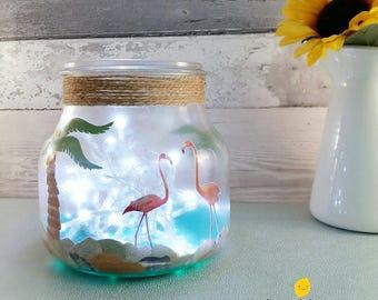 Flamingo Light Jar, Fairy Lights Flamingos, Palm Trees Decor, Girls Room Lighting, Sisters Birthday gift, presents for her, Tropical ideas