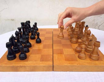"""Vintage Russian Chess Set / Wooden Chess USSR 1960s / Full Set / Big wooden soviet chess / 16""""x16"""""""