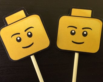 Lego Head Cupcake Toppers (6), Lego Cupcake Toppers, Lego Birthday Party, Lego cake topper, Lego birthday, Lego