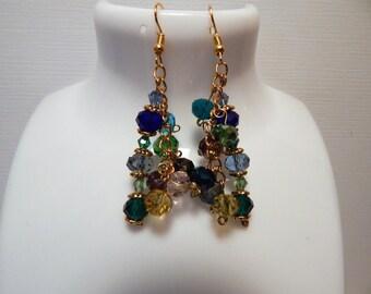 Crystal earrings, Cluster Swarovski Roundelle Crystal earrings