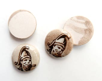 Vintage Warrior Cameo, hand-painted ceramic cabochon, round - 13 mm - A68-3