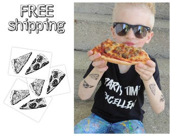 """Set of 3 temporary tattoos """"Pizza"""". Black and white food themed kids body stickers. Party bag supply. TT084"""