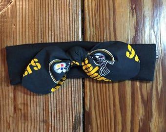 Pittsburgh Steelers Stretch Athletic Cheer Headband. Baby Headband. Baby Bow. Football. NFL Football Knit Headband. Steelers Hair Accessory