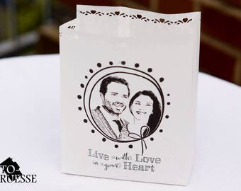 Photo - light bag - personalised candle printed with your photo, table decorations wedding, wedding decor