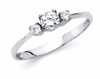 14kt 0.50 Ct Round Cut Engagement Wedding Ring Band Solid White Gold 3 stone ring