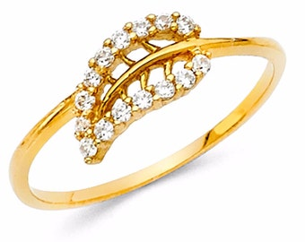 0.40 Ct. 14k Yellow Gold Ring Leaf Style Ring band Solid Gold