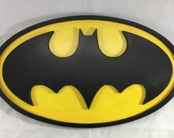 Batman Sign - 14x8.5 inch Oval - 3D