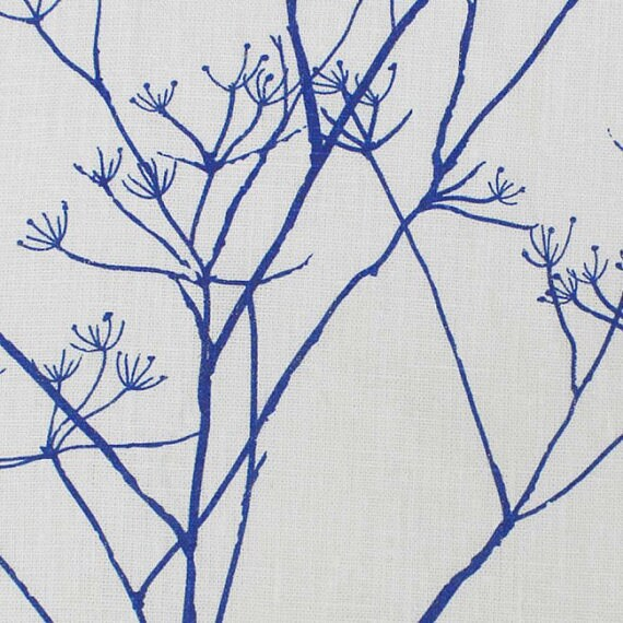 Linen Fabric - Blue & White Fabric - Curtain Fabric - Floral ...