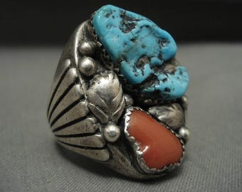 Bursting Flank Vintage Navajo Big Turquoise Coral Silver Ring Old