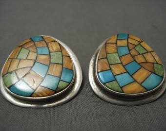 Some Of The Most Detailed Vintage Harry Morgan Turquoise Shell Earrings