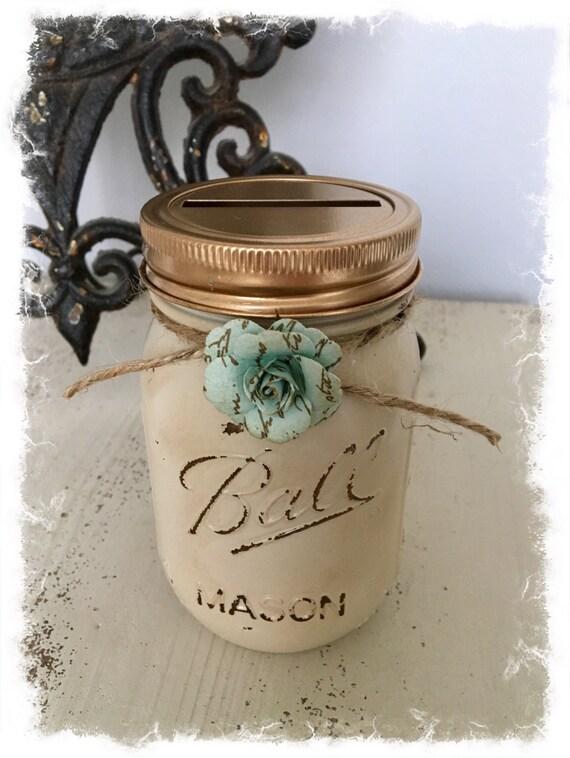Rustic cream gold mason jar piggy bank for Mason jar piggy bank