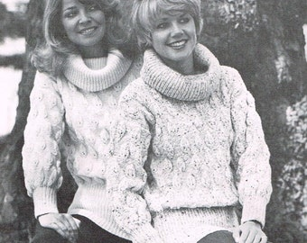 Women's Chunky Knit Sweater Pattern with Matching Leg Warmers - Instant PDF Download of Vintage Pattern - 70s or 1970s Knitting Pattern