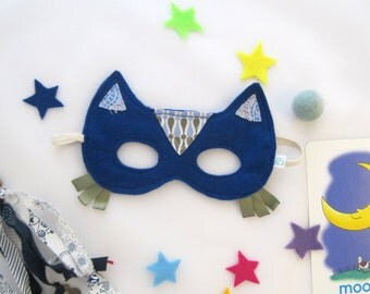 Cat Felt Mask, Size 2Y to 4Y, Kids disguise, Blue cat mask, children mask, handmade mask, Birthday kids gift, Pretend play / Masque de Chat