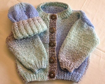 9 Month Infant Baby  Cardigan Sweater and Hat - Blue/Green/Gray Multicolor