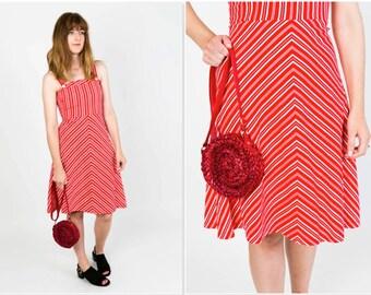 Vintage red stripe pinafore dress