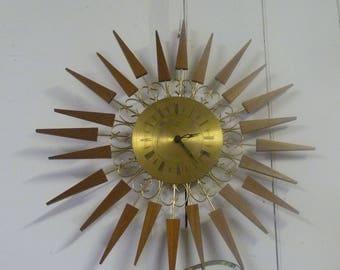 VINTAGE Teak SUNBURST Brass Clock PAICO 1970s Retro