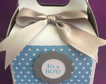 Baby boy baby shower favor boxes, set of 10