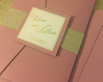 Dusty rose and gold glitter wedding invitation with gold foil font