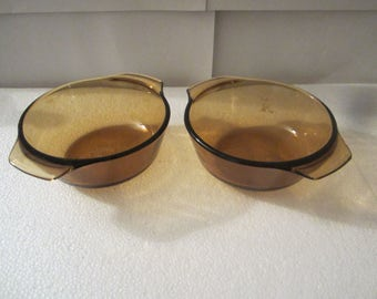 2 Vintage 1960s Fire King Brown Casserole dish 472  ~ vintage dish cookware