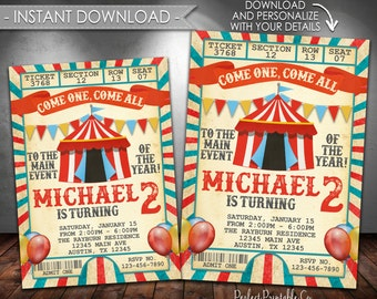 Carnival Invitation, Carnival Birthday Invitation, Circus Invitation, Circus Birthday Invitation, Boy Party, Instant Download, Editable #553