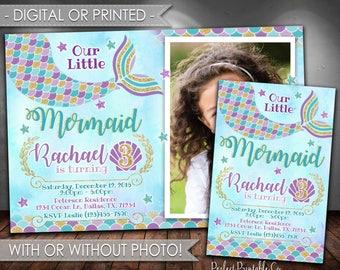 Mermaid Invitation, Mermaid Birthday Invitation, Mermaid Birthday Party Invitation, Mermaid Invite, Under the Sea, Teal Purple Gold #341