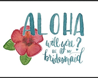 Aloha Bridesmaid Invitation, pack of 5