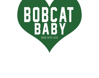 "Ohio University Bobcat Baby Heart Nursery Art - 8.5""x11"" PRINT"