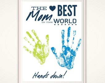 Gift for Mom - Mom Christmas Gift from Kids,  Personalized Mom Gifts, Birthday Gift for Mother, Handprint Art, Mother Gift, INSTANT Dowload