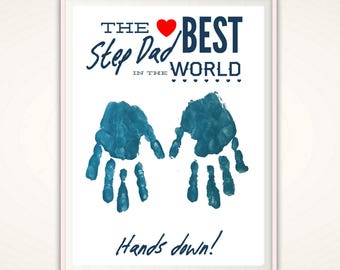 Step Dad Gift - Christmas Gift for Step Dad, Gifts for Stepdad, Step Father Personalized Present, From Stepkid, DIY Handprint Art, DIGITAL