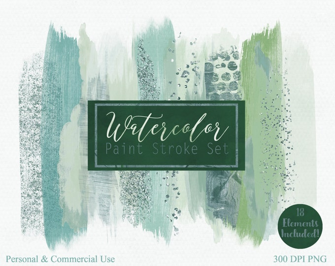 BRUSH STROKES Clip Art Commercial Use Clipart Watercolor Paint Stroke Blog Header Teal & Green Confetti Christmas Watercolour Logo Graphics