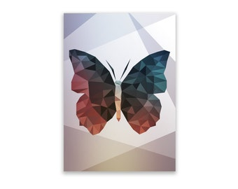 Notepad - Butterfly, Geometric, Notepad, Stationery, Recycled Paper, Geometric Illustration, Lined Writing, Illustration