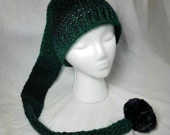 Crochet Pixie Long Tail Winter Hat, Wool Stocking Cap, Winter Fashion Hat, Faerie Fairy, Elf Hat, Faux Fur Pom, Adult sized Ombre Winter Hat