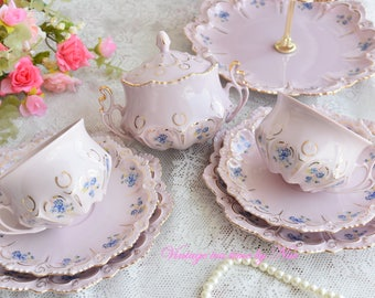 Vintage tea set floral porcelain Slav porcelain pink tea cup set HC tea set rose porcelain vintage coffee set vintage teacups set