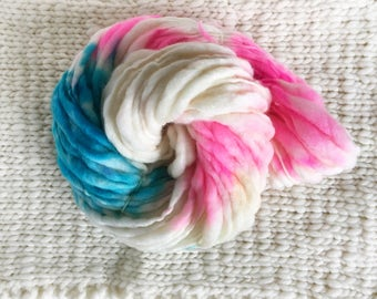 SALE Handspun Thick and Thin Yarn - Cyan and Magenta