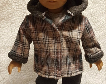 Brown and White and Gray Plaid coat with further lined hood and cuffs