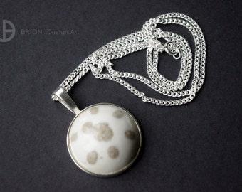 Chain 8 points, porcelain, brown/white, 60 cm silver 925/version antique Silver