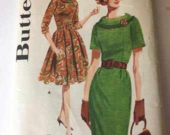 Vintage 1950's BUTTERICK #2494 Jackie O Mad Men Wiggle Dress Sz 12 UNCUT