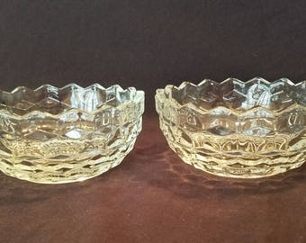FOSTORIA CLEAR BOWLS Cube Glass Early American Crystal Cubist Set of 2 Vintage